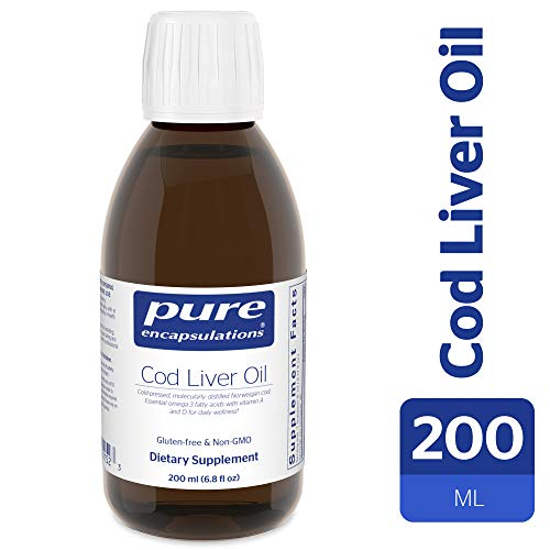Pure Encapsulations - Cod Liver Oil - Molecularly Distilled with Naturally Occurring Vitamin A & D - Lemon Flavor - 200 ml (6.76 fl oz)
