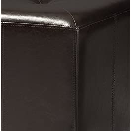 Baxton Studio Pebbles Cube Leather Ottoman – Dark Brown