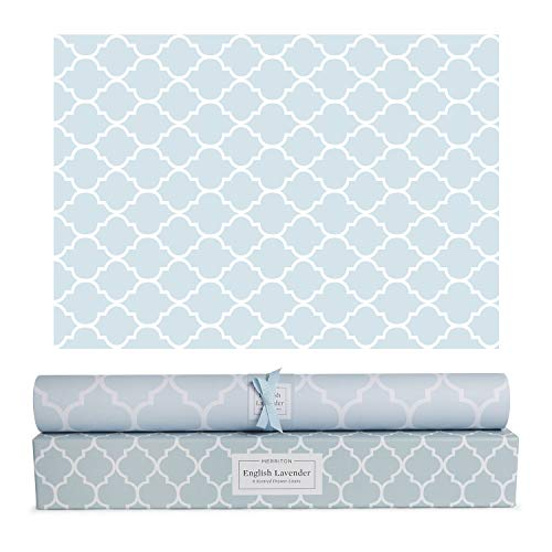 Merriton Scented Drawer Liners, Fresh Scent Paper Liners for Cabinet Drawers, Dresser Shelf, Linen Closet, Perfect for Kitchen, Bathroom, Vanity (6 Sheets) (English Lavender) (Paper Liner Drawer & Shelf)