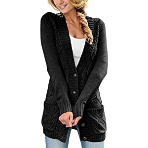 Sidefeel Women Open Front Pocket Cardigan Sweater Button Down Knit Sweater Coat