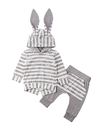 Baby Girl Boy Clothes Long Sleeve Hoodie Rabbit Ear Sweatshirt+Striped Pants Outfit Sets (6-12 Months)