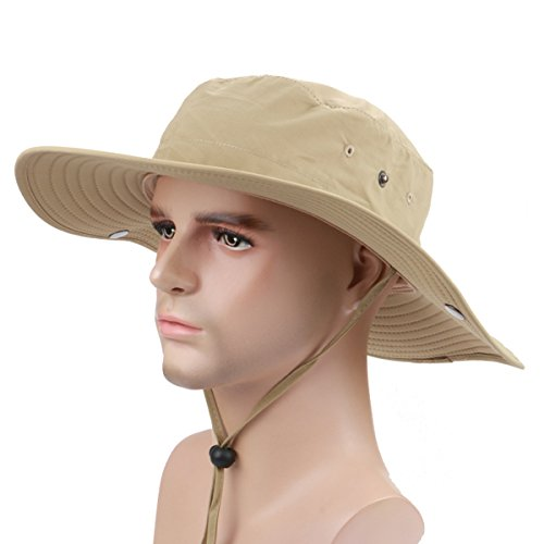 Panegy Outdoor Big-brimmed Boonie Cap Cowboy Bucket Hat with Chin Cord - Khaki