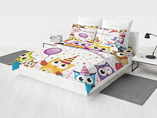 Birthday Decorations for Kids Baseball Bedding Set Party Owl Family with Colorful Cone Hats on Confetti Backdrop Printing Four Pieces of Bedding Set Multicolor for $<!--$151.99-->