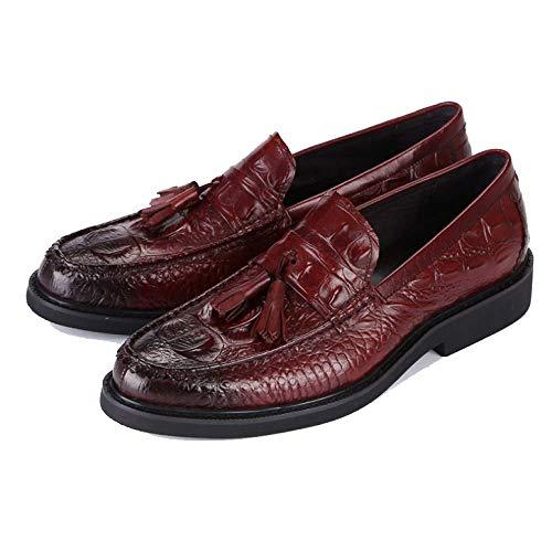 Piccolo Red Casual Scarpe Pelle Comodo Business da Pigri Uomo Frange E Indossabile Scarpe con Pendente Testa Grande in Tfx7wqp