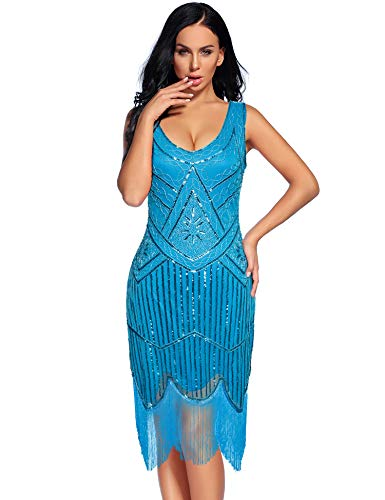 (Women's Vintage 1920s Fringed Gatsby Sequin Beaded Tassels Hem Flapper Dress (Sky Blue, M))