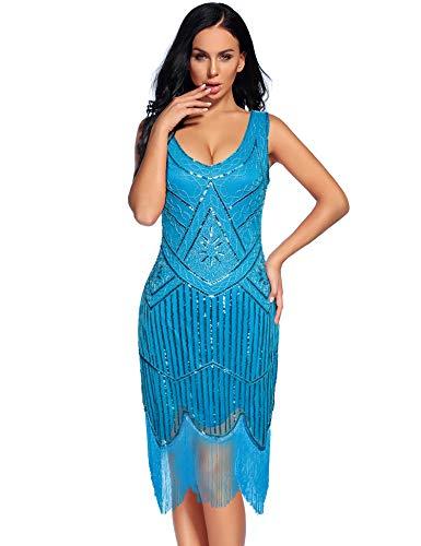 Women's Vintage 1920s Fringed Gatsby Sequin Beaded Tassels Hem Flapper Dress (Sky Blue, M)