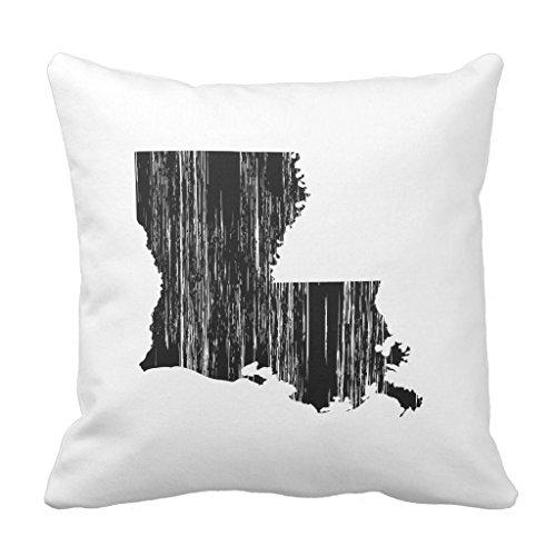 Zazzle Distressed Louisiana State Outline Throw Pillow 16
