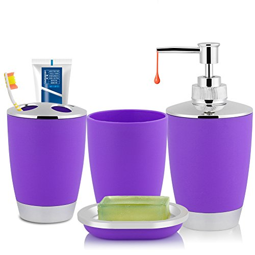 Fdit 4Pcs/Set Bathroom Suit Accessories Includes Cup Toothbrush Holder Soap Dish Dispenser Washing Cup Perfect Decorative Bath Accessories(Purple)