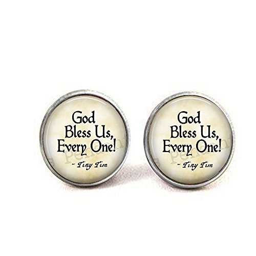 lukuhan God Bless Us Every One - Tiny Tim Quote - A Christmas Carol Jewelry - Tiny Tim Pendant - Christmas Carol Quote - Scrooge - Bah Humbug Earrings -