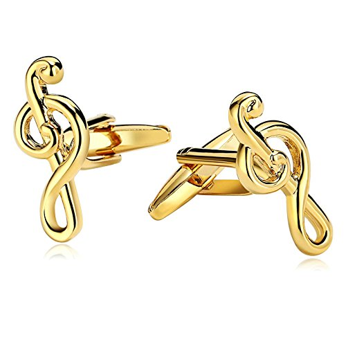 - Gnzoe Men Stainless Steel Shirt Cuff Links Wedding Business Music Notes Music Symbol Treble Clef Gold