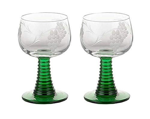 Set of 2 Glass Rhein Roemer Goblet German Rhein Roemer Vintage Etched Wine Glass - Green Wine Design