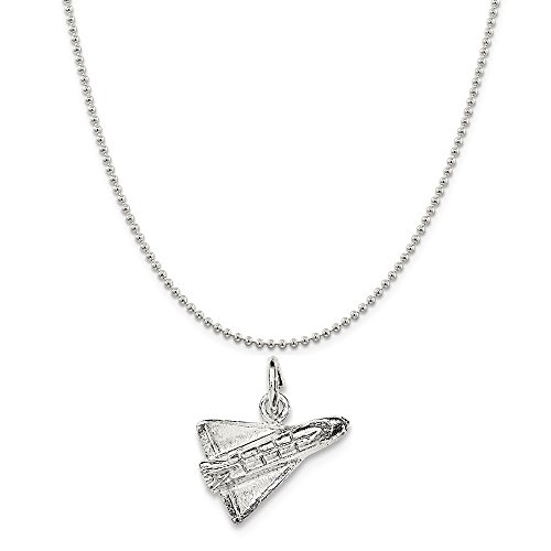 - Sterling Silver Polished 3-D Shuttle Rocket Pendant on a Sterling Silver Ball Chain Necklace 16