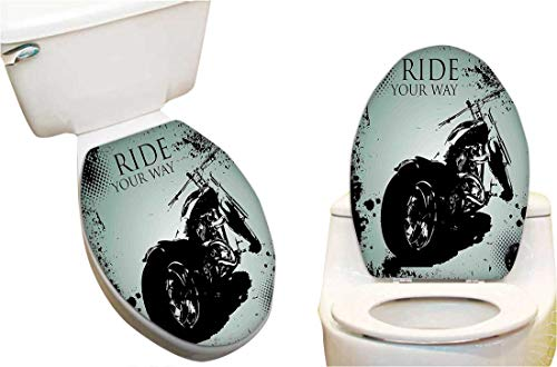 Splatter Motorcycle - Toilet Seat Decal Motorcycle with Black Dots and Splatters Chopper Road Trip Artwork Black and Light Toilet Vinyl Decal 11