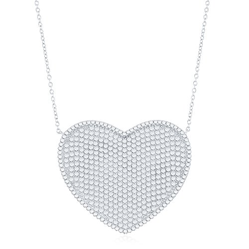 Sterling Silver Large Micro Pave Heart 16+2
