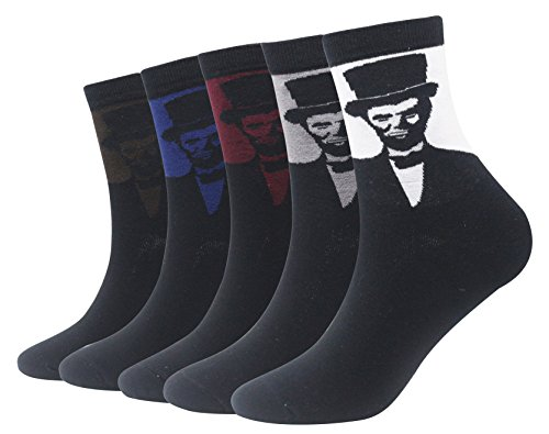 Wish Island Men's 5 Packs Abraham Lincoln President Socks Fun Crazy Novelty Dress Socks (Abraham Lincoln)