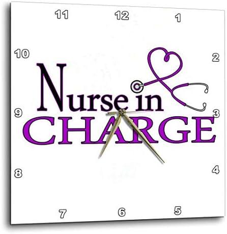 3dRose DPP_181845_1 Nursein Charge Purple Heart Stethoscope Wall Clock, 10 by 10-Inch