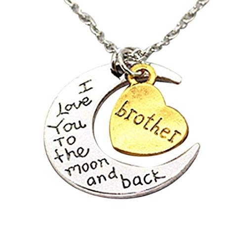 Noopvan I Love You to The Moon Back' Engraved Silver Moon Pendant Necklace (Gold) ()