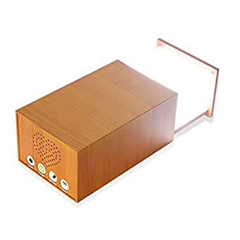 BOYON Modern Wooden Design Desk Lamp and Bluetooth Speaker Dimmable,Rechargeable, Long lasting, Multifunction, Bedside lamp, Night Light, Table lamp