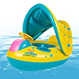 Xplanet Baby Pool Float with Canopy Inflatable Baby Water Float Boat with Sunshade for Pool Swimming Ring Floater Raft Toys for Toddlers Kids (Green)