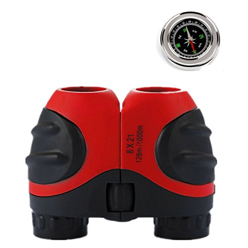Makerfun 8 X 21 Kids Binoculars + Compass for Bird Watching, Watching Wildlife or Scenery, Game, Mini Compact and Image Stabilized, Best Gifts for Children