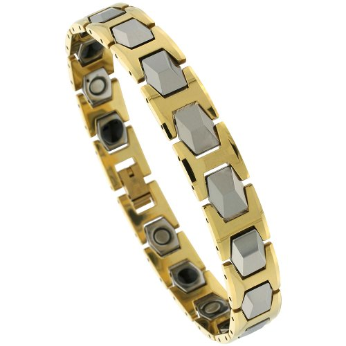 Tungsten Carbide Bracelet Magnetic Therapy, 2-Tone Gold & Gun Metal Faceted Hexagon Links, 1/2 inch wide, 9.25 inches long