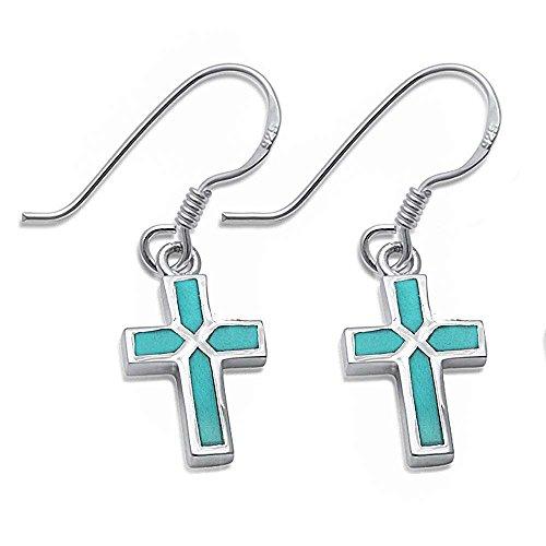 - Dangle Style Turquoise Cross .925 Sterling Silver Earrings
