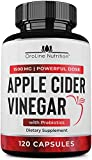 Organic Apple Cider Vinegar Capsules (120 Capsules | 1500 mg) with Prebiotics | Apple Cider Vinegar Pills | Fiber…
