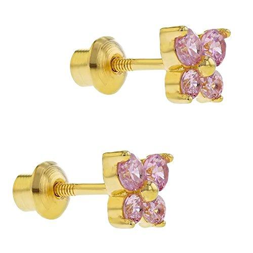 3b06921c3595 In Season Jewelry - 925 Plata de Ley Aretes con Cierre de Rosca para Niñas  en