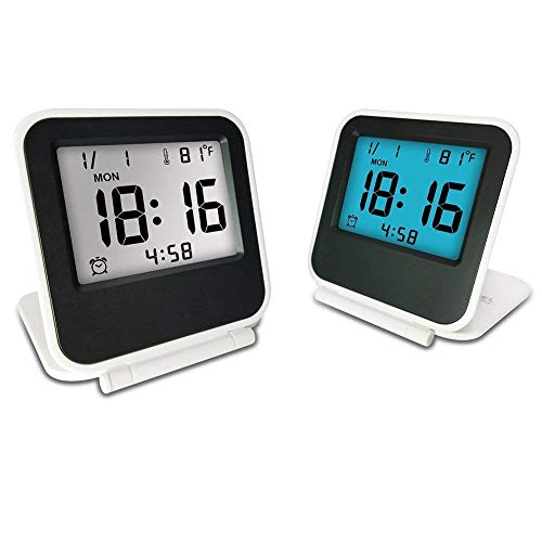 Travel Clock, eBoTrade Dirct Alarm Clock Battery Operated Portable Digital Desk Clock White