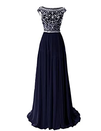 Tidetell Elegant Floor Length Bridesmaid Cap Sleeve Prom Evening Dresses Navy Size 26W