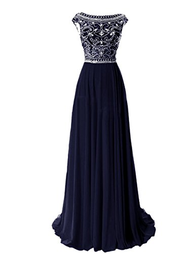 R&J Bridesmaid Floor Length Elegant Cap Sleeve Prom FormalEvening Dress Navy Size 18 (Round Peach Coral Bead)
