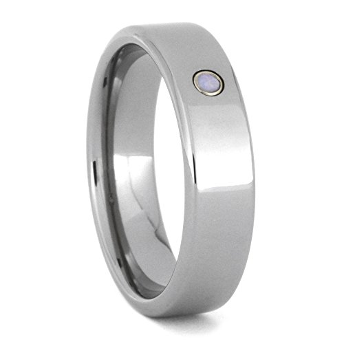 Opal Cabochon 6mm Comfort-Fit Titanium Band, Size 12.75