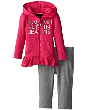 Baby Girls' Hoody with Gray Pull On Pants