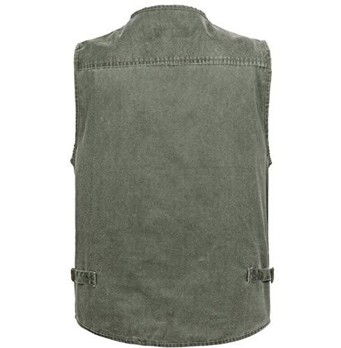 Chaleco Hombre Hefei Bolsillos Chaleco Chaleco de Army 16 algodón Gran Edad de Mezclilla XXXXL XIAOXIAO de 7XL Mediana Green tamaño tamaño de de Color rnftqwxn