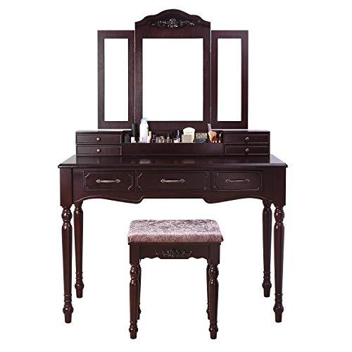 HOMECHO Vanity Table Set Makeup Dressing Desk with Tri-Folding Mirror Cushioned Stool Drawers Storage Organizer Dark Brown, HMC-MD-010