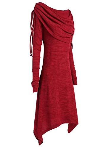 Yvelands Tallas Grandes Mujer Moda Sólido Fruncido Largo Foldover Collar Túnica Top Blusa Tops(Vino
