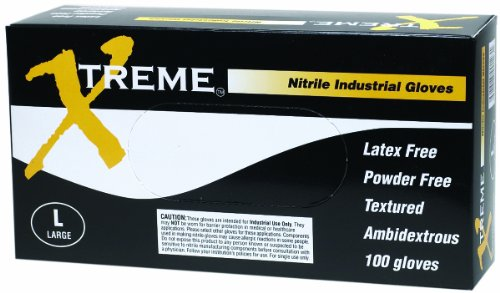 AMMEX - XNPF46100-BX - Nitrile Gloves - Xtreme - Disposable, Powder Free, Industrial, 4 mil, Large, Blue (Box of 100)
