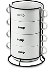 Porcelain Soup Bowl with Handles Stackable Soup Crock