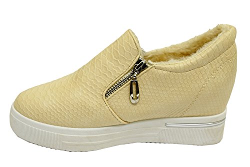 Unbranded Ladies Beige Snake Zip-Up Platofrm Casual Wedge Pumps Trainers Shoes Sizes 3-7 paWtIS