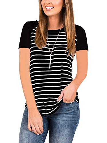INFITTY Women's Short Sleeve Raglan Striped T Shirt Round Neck Baseball Loose Tunic Tops Blouse Black Large