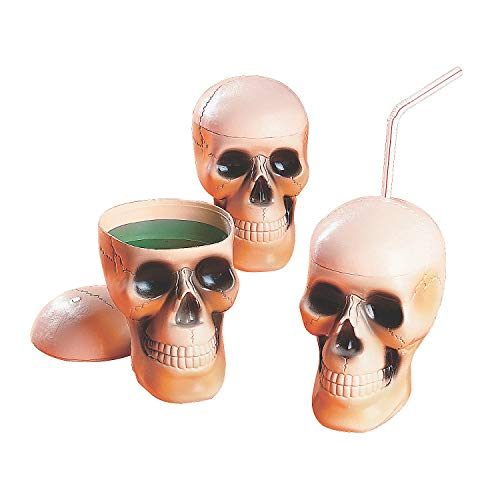 Fun Express - Plastic Skull Drinking Cups for Halloween - Party Supplies - Drinkware - Sipper & Molded Cups - Halloween - 12 Pieces