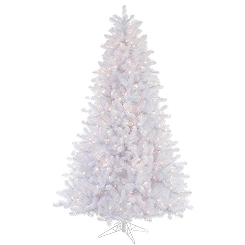 Lit Crystal Artificial Christmas Tree - Vickerman Pre-Lit Crystal White Artificial Christmas Tree with Multicolored Lights, 6.5'