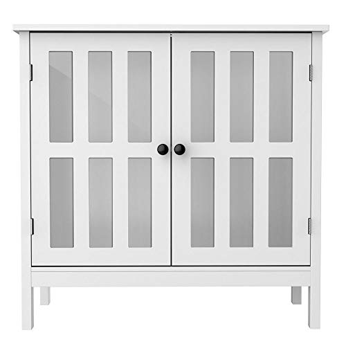 lunanice Storage Buffet Cabinet Glass Door Sideboard Console Table Server Display White (Provincial French Furniture Sideboard)