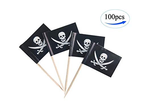 Pirate Jack Rackham Toothpick Flags, 100 Pcs Cupcake Toppers Flag,Skull Flag Toothpick Flag,Small Mini Stick Flags Picks Party Decoration Pirate Festival Celebration Cocktail Food Bar Cake Flags]()