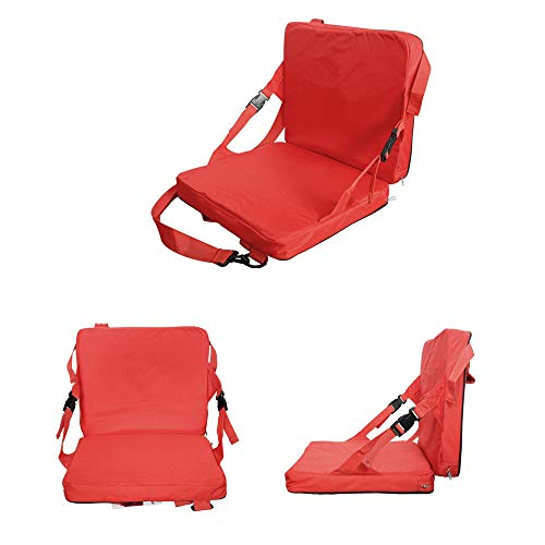 (COCO Portable Stadium Seat,Basketball Football Game Boat Seat Cushion (Bright red))
