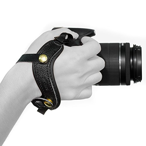 Megagear MG896 Genuine Leather Wrist StrapComfort Padding, Enhanced Hand Grip Stability and Security for All Cameras (SLR/DSLR) One Size Fits All, Black by MegaGear