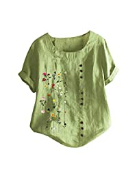 OCEAN-STORE Women T-Shirt Floral Embroidered Plus Size Shirt Short Sleeves Cotton Linen Top
