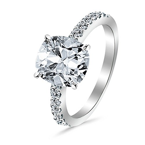 14K White Gold 08 CTW Classic Side Stone Pave Set Diamond Engagement Ring w/ 05 Ct Cushion Cut H Color VS2 Clarity Center