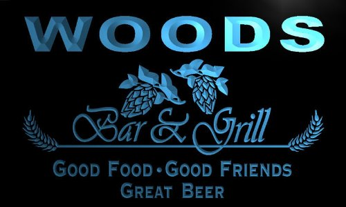 pr1107-b Woods Bar & Grill Beer Wine Neon Light Sign by AdvPro Name (Image #3)