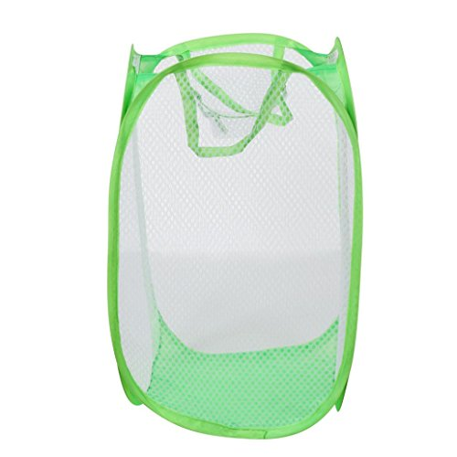 Sandistore Foldable Pop Up Washing Laundry Basket Bag Hamper Mesh Storage Pueple (50.53226.5cm, Green)